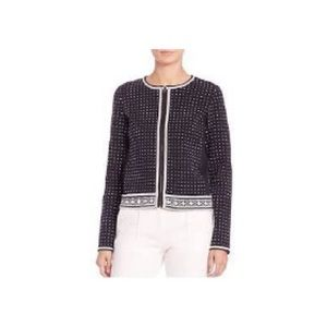 Tory Burch Zip up cardigan navy blue and white